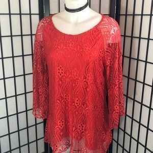 Brittany Black Red Lace Top